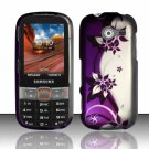 Hard Plastic Rubberized Snap On Case Cover for Samsung Array/Montage M390 – Silver & Purple Vines
