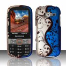 Hard Plastic Rubberized Snap On Case Cover for Samsung Array/Montage M390 – Silver & Blue Vines