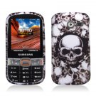 Hard Plastic Rubberized Snap On Case Cover for Samsung Array/Montage M390 – White Skull