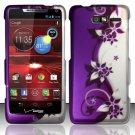 Hard Plastic Snap On Case Cover Motorola Droid RAZR M 4G LTE XT907 (Verizon) - Purple Vines