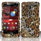 Hard Plastic Snap On Bling Case Cover Motorola Droid RAZR M 4G LTE XT907 (Verizon) - Golden Cheetah