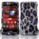 Hard Plastic Snap On Bling Case Cover Motorola Droid RAZR M 4G LTE XT907 (Verizon) - Purple Leopard