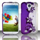 Hard Plastic Rubberized Snap On Case Cover for Samsung Galaxy S4 IV i9500 – Silver & Purple Vines