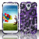 Hard Plastic Snap On Bling Case Cover for Samsung Galaxy S4 IV i9500 – Purple Leopard