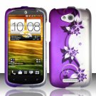 Hard Plastic Snap On Rubberized Design Case Cover for HTC One VX (AT&T) – Silver & Purple Vines