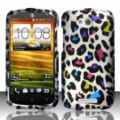 Hard Plastic Snap On Rubberized Design Case Cover for HTC One VX (AT&T) – Rainbow Leopard