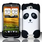 Hard Plastic Snap On Rubberized Design Case Cover for HTC One VX (AT&T) – Cute Panda Bear