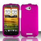 Hard Plastic Snap On Rubberized Case Cover for HTC One VX (AT&T) - Rose Pink