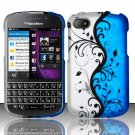 Hard Plastic Snap On Case Cover for Blackberry Q10 (AT&T/Sprint/T-Mobile/Verizon) - Blue Vines