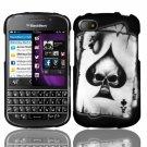 Hard Plastic Snap On Case Cover for Blackberry Q10 (AT&T/Sprint/T-Mobile/Verizon) - Spade Skull