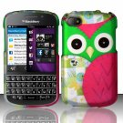 Hard Plastic Snap On Case Cover Blackberry Q10 (AT&T/Sprint/T-Mobile/Verizon) - Starry Green Owl