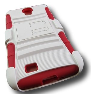 White Red Rugged Armor Hybrid Hard Case with Kickstand Belt Clip Holster for Samsung Galaxy S4 S IV