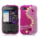 Hard Plastic Snap On Bling Case Blackberry Q10 (AT&T/Sprint/T-Mobile/Verizon) - Pink Pearl & Heart
