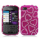 Hard Plastic Snap On Bling Case Cover Blackberry Q10 (AT&T/Sprint/T-Mobile/Verizon) - Hot Pink Heart