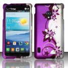 Cell Phone Case Cover Snap On for LG Lucid 2 VS870 (Verizon) - Purple Vines + Screen Protector