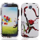 Hard Plastic Rubberized Snap On Case Cover for Samsung Galaxy S4 IV i9500 - Red Rose