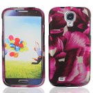 Hard Plastic Rubberized Snap On Case Cover for Samsung Galaxy S4 IV i9500 - Flower Pedals