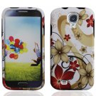 Hard Plastic Rubberized Snap On Case Cover for Samsung Galaxy S4 IV i9500 - Red & Gold Flowers