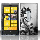 Cell Phone Case Cover Hard Plastic Snap On for Nokia Lumia 920 (AT&T) – Silver & Black Vines