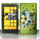 Cell Phone Case Cover Hard Plastic Snap On for Nokia Lumia 920 (AT&T) – Flowers & Butterfly