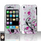 Hard Rubber Feel Plastic Design Case For Apple iPhone 3g/3gs - Pink and Silver Flowers
