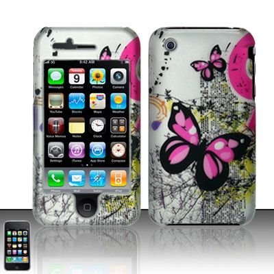 Hard Rubber Feel Plastic Design Case For Apple iPhone 3g/3gs - Silver and Pink Butterfly