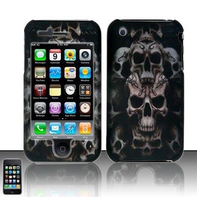 Hard Rubber Feel Plastic Design Case For Apple iPhone 3g/3gs  - Ancient Skulls