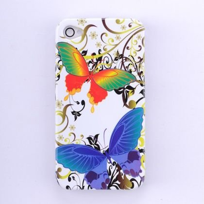 Hard Plastic Design Case For Apple iPhone 4G - White Rainbow Butterfly