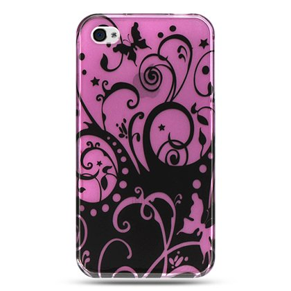 Hard Plastic Design Case Apple iPhone 4G - Purple and Black Swirls