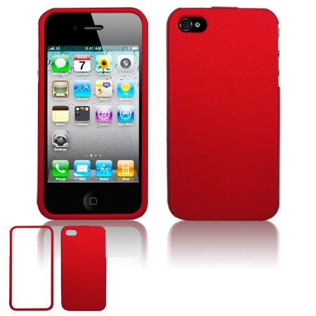 Hard Rubber Feel Plastic Case For Apple iPhone 4G - Red
