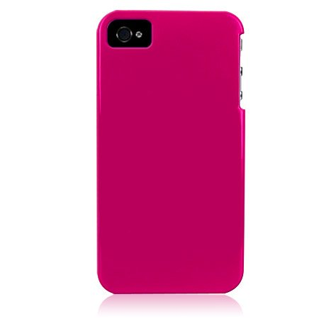 Hard Plastic Glossy Back Cover Case For Apple iPhone 4G - Hot Pink