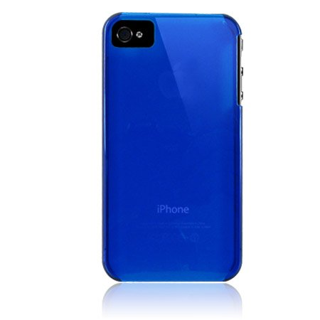 Hard Plastic Transparent Back Cover Case For Apple iPhone 4G  - Blue