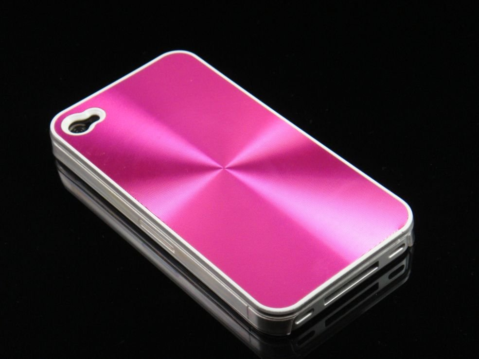 Hard Plastic Aluminum Finish Back Cover Case For Apple iPhone 4G - Hot Pink