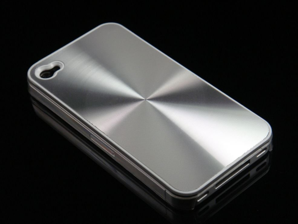 Hard Plastic Aluminum Finish Back Cover Case For Apple iPhone 4G  - Silver