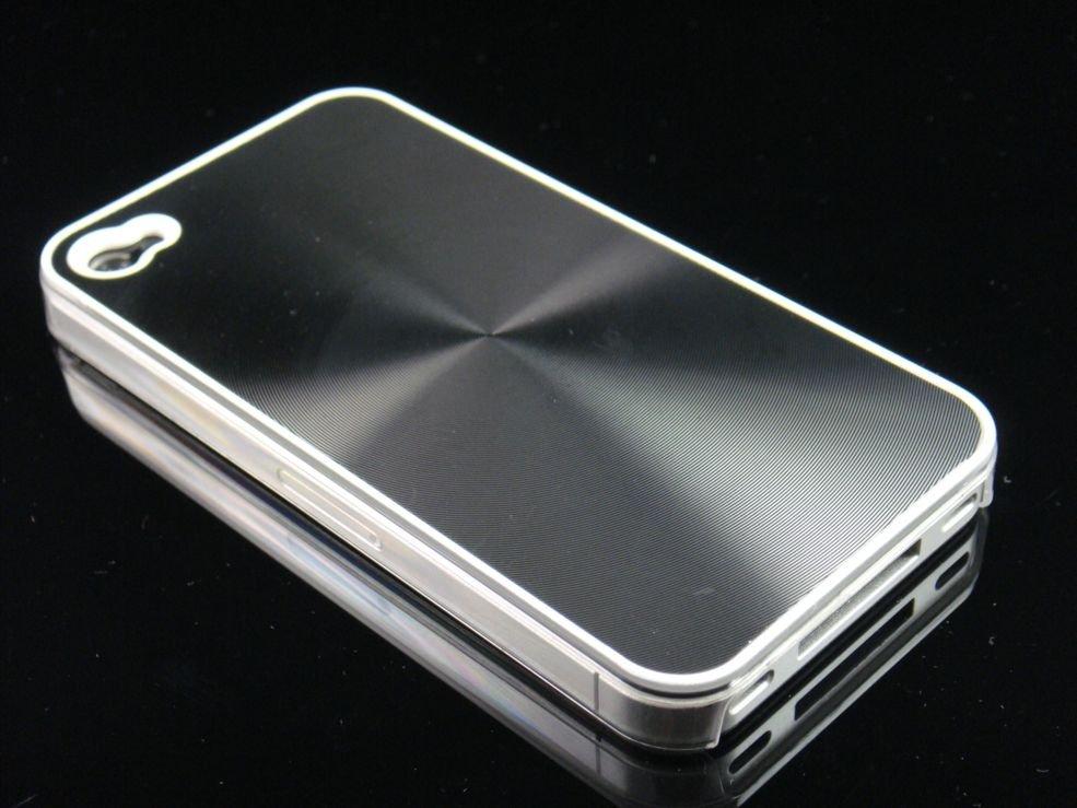 Hard Plastic Aluminum Finish Back Cover Case For Apple iPhone 4G - Black