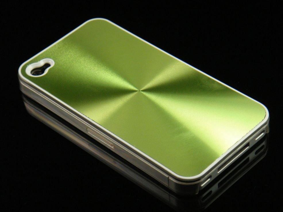 Hard Plastic Aluminum Finish Back Cover Case For Apple iPhone 4G - Green