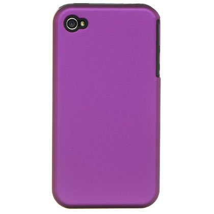 2-in-1 Hard Plastic Back Cover Case + Black Silicone Skin For Apple iPhone 4G  - Purple