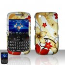 Hard Plastic Rubber Feel Design Case For Blackberry Curve 8520 - Red and Gold Flowers