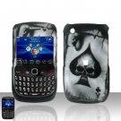 Hard Plastic Rubber Feel Design Case For Blackberry Curve 8520 - Ace of Spade Skull