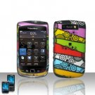 Hard Plastic Rubber Feel Design Case For Blackberry Torch 9800- Abstract Art