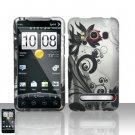 Hard Plastic Rubber Feel Design Full Case For HTC Evo 4G - Black and Silver Vines