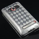 Crystal Gel Check Design Skin Case For HTC Evo 4G - Clear