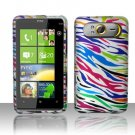 Hard Plastic Rubber Feel Design Case For HTC HD7 - Rainbow Zebra