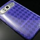 Crystal Gel Check Design Skin Case For HTC HD7 - Purple