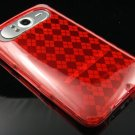 Crystal Gel Check Design Skin Case For HTC HD7 - Red