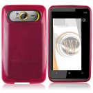 Soft Crystal Gel Frost Skin Cover Case For HTC HD7 - Hot Pink