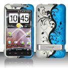 Hard Plastic Rubber Feel Design Case For HTC Thunderbolt 4G (Verizon) - Silver and Blue Vines