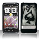 Hard Plastic Rubber Feel Design Case For HTC Thunderbolt 4G (Verizon)  - Ace of Spade Skull
