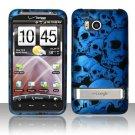 Hard Plastic Rubber Feel Design Case For HTC Thunderbolt 4G (Verizon) - Blue Skulls