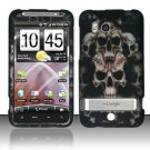 Hard Plastic Rubber Feel Design Case For HTC Thunderbolt 4G (Verizon) - Ancient Skulls